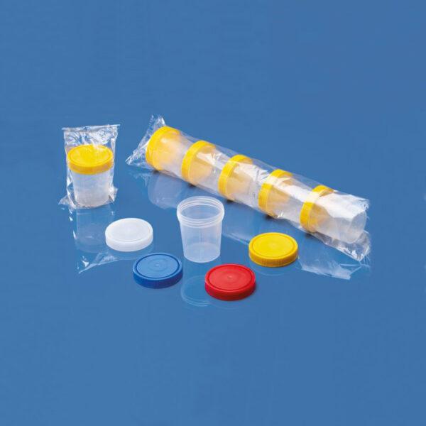 Bægere med låg enkeltvis pakket og mange pakket
